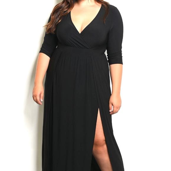 Plus Size Wrap Top Double Slit Jersey Maxi Dress Boutique